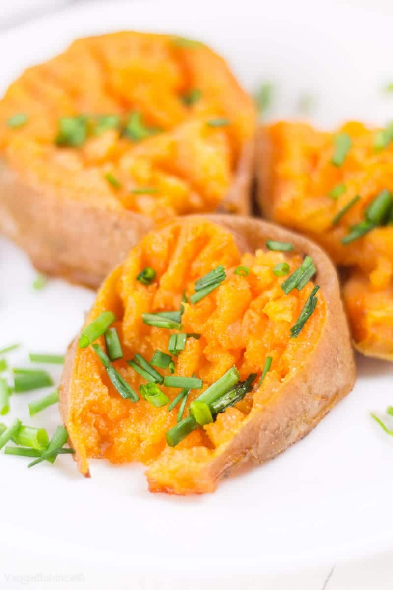 Smashed Sweet Potatoes drenched in garlic butter - Veggiebalance.com