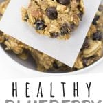 """PINTEREST IMAGE with words """"Healthy Blueberry Breakfast Cookies"""" Blueberry Breakfast Cookies in a bowl with one on top."""