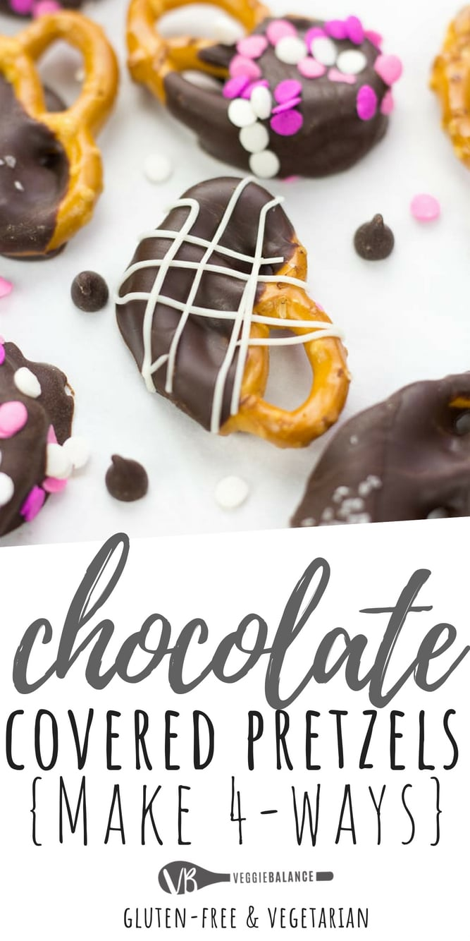 Chocolate Covered Pretzels perfect for any occasion. Customize these salty, sweet pretzels 4 different ways with sprinkles, white chocolate, chocolate and sea salt!