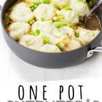 "PINTEREST IMAGE with words ""One Pot Shepherd's Pie With Vegetarian Option"" One Pot Shepherd's Pie Vegetarian"