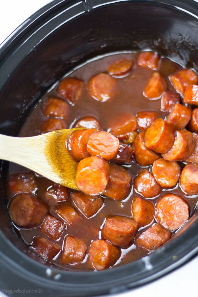 Slow Cooker Sweet BBQ Cocktail Sausages - Veggiebalance.com