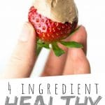 "PINTEREST IMAGE with words ""4 ingredient Healthy Fruit Dip"" Strawberry half covered in Healthy Fruit Dip being held."