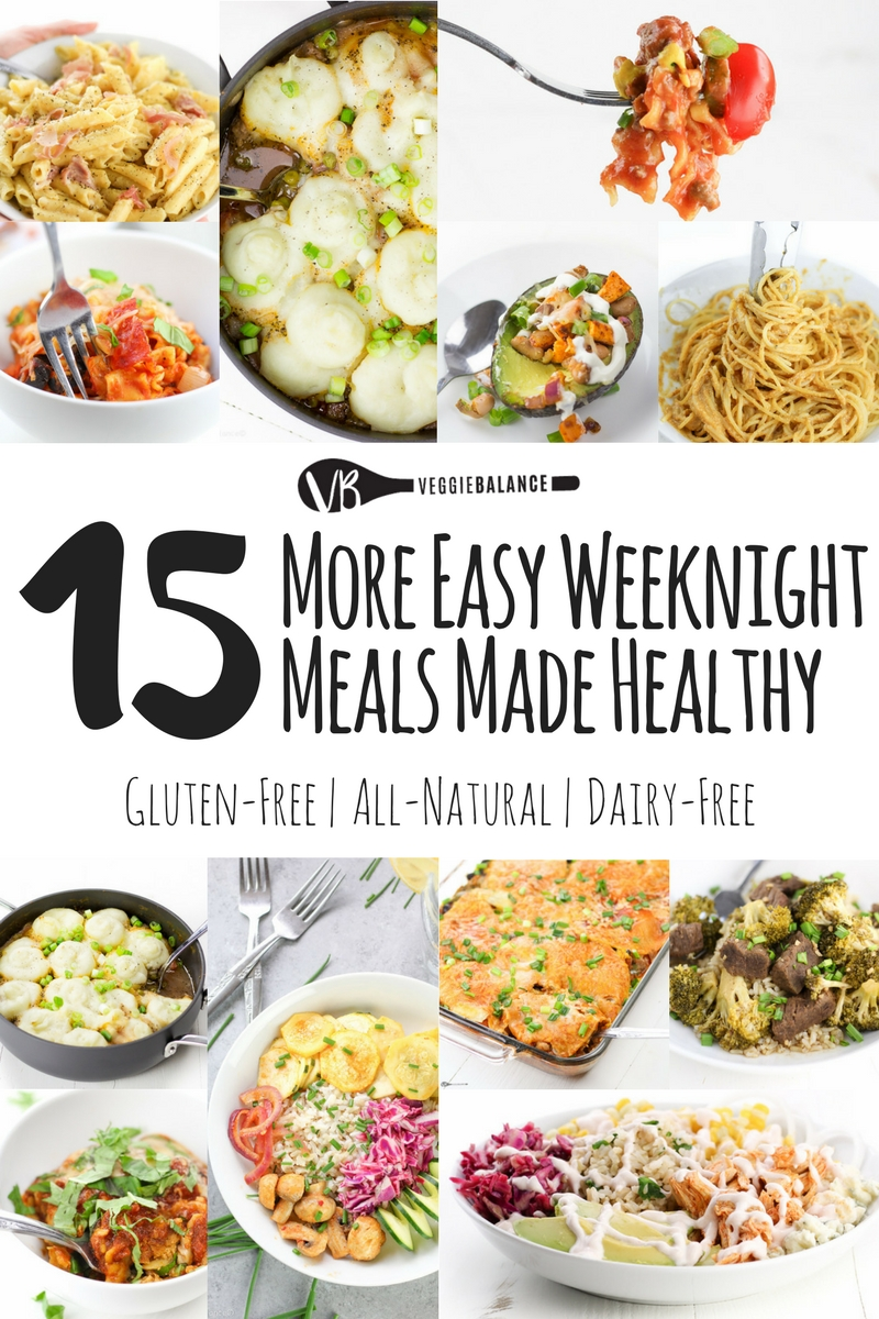 15 More Easy Weeknight Meals recipe compilation to make those weeknights dinner that much easier to get through. All gluten-free dinners, some dairy-free and vegan, but no doubt, every single dish is out of this world easy and delicious.