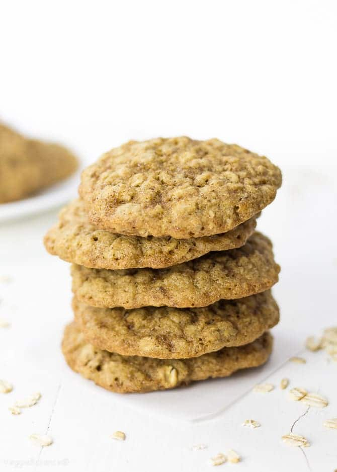Vegan Oatmeal Cookies laced with the perfect amount of cinnamon