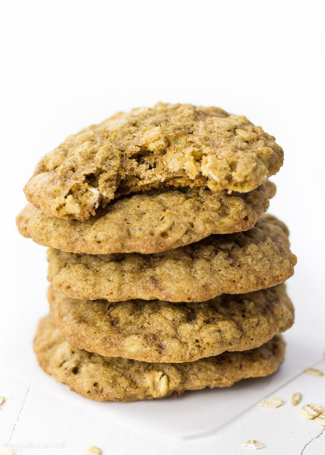 Vegan Oatmeal Cookies laced with the perfect amount of cinnamon for a chewy goodness treat. Whip together in one bowl and under 15 minutes you'll have a perfectly golden brown oatmeal cookie ready to devour. (Gluten Free, Dairy Free, Vegan)