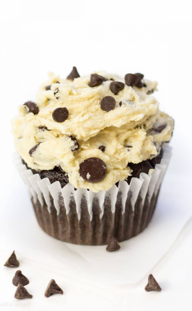 Chocolate Chip Cookie Dough Cupcakes (Gluten Free)