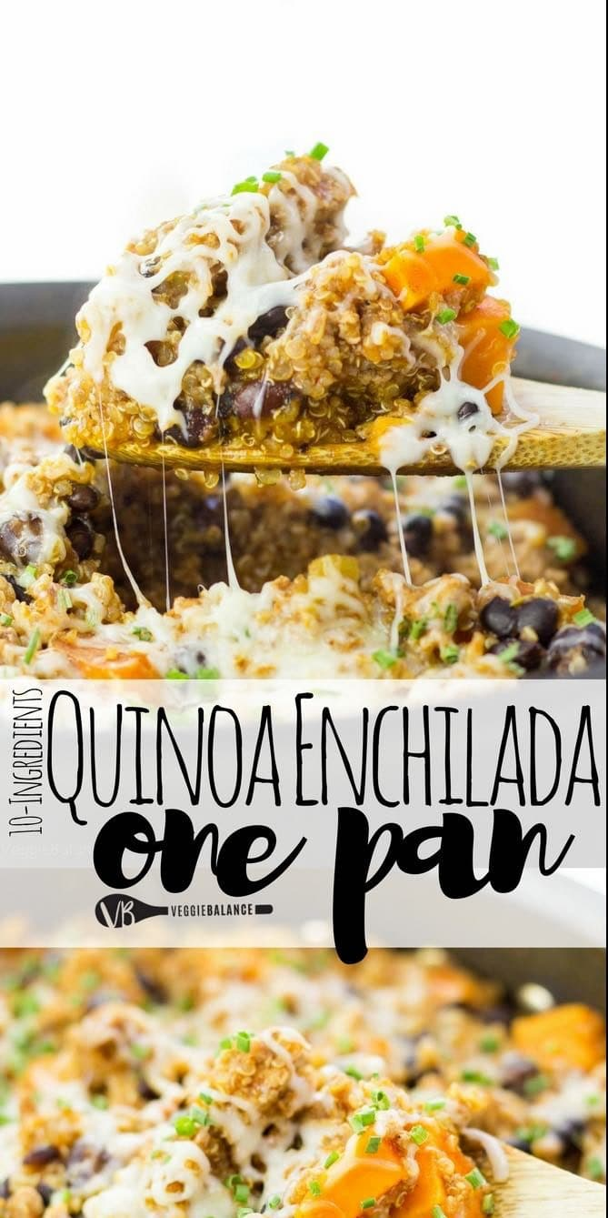 Quinoa Enchilada recipe for those quick weeknight dinner meals to the rescue. Toss it all in one pan and dinner is served in under 30 minutes. Mexican flavors, a meal made in under 30 minutes AND only one dish... Heaven. (Gluten Free, Dairy Free & Vegan friendly)