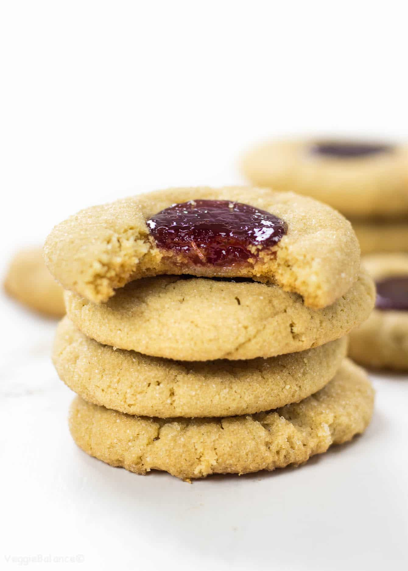 Peanut Butter Jelly Thumbprint Cookies - Veggiebalance.com
