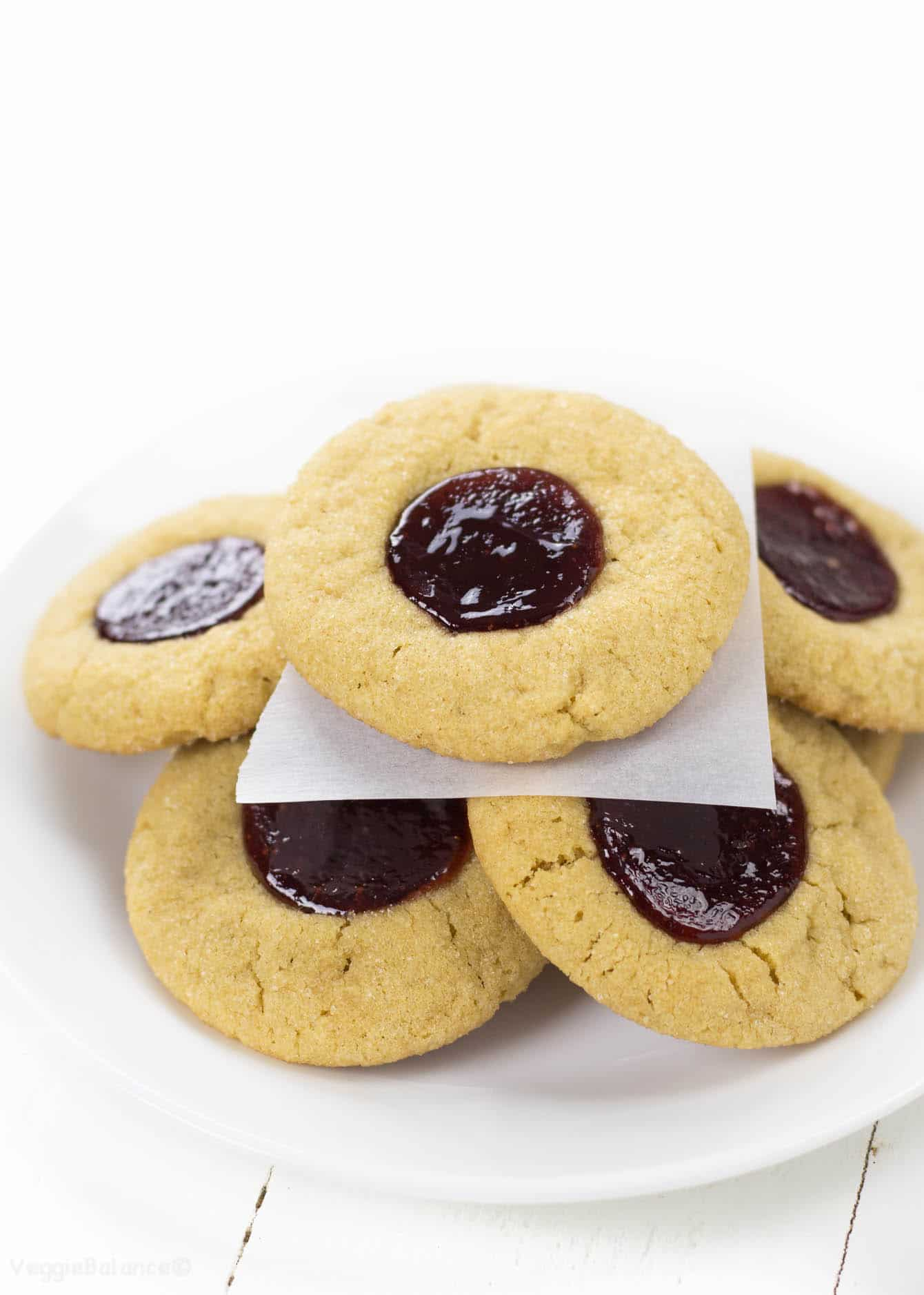 Peanut Butter and Jelly Thumbprint Cookies - Veggiebalance.com