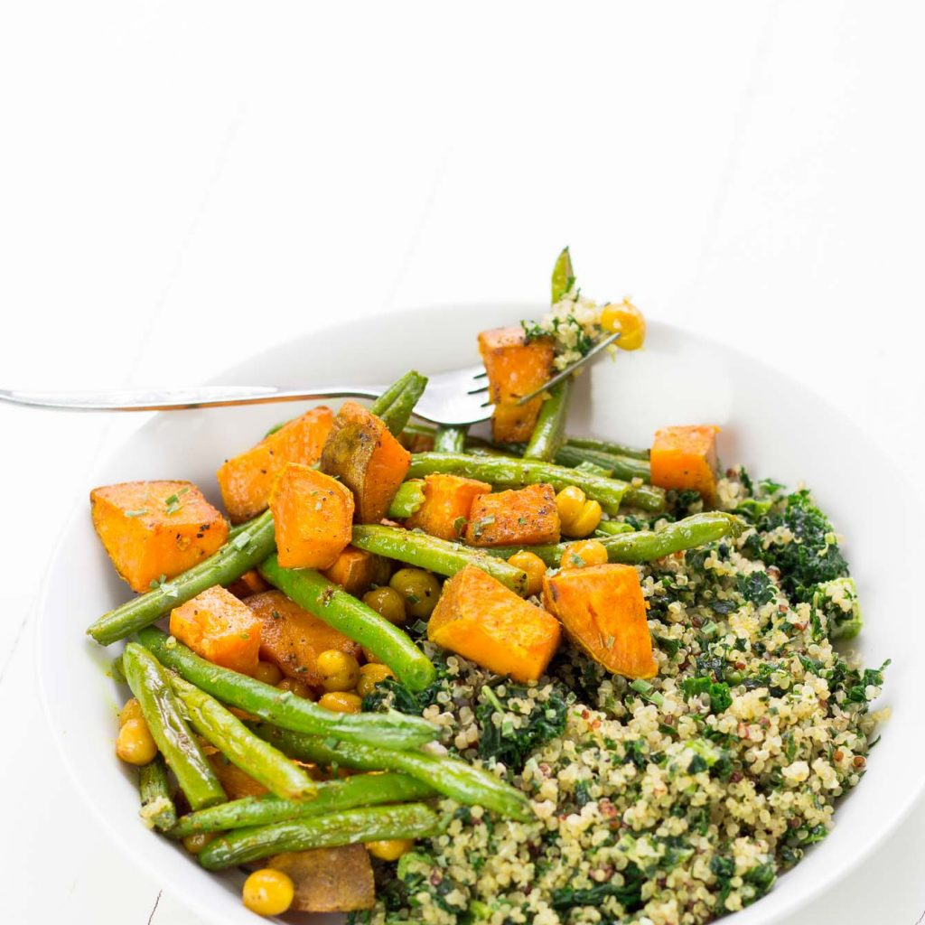 Turmeric Roasted Sweet Potato Green Beans and Crunchy Chickpeas