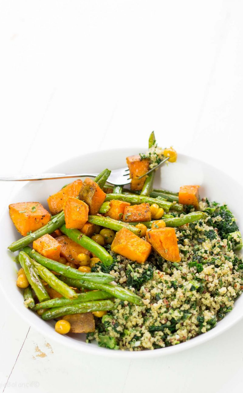 Turmeric Roasted Sweet Potato Green Beans and Crunchy Chickpeas Recipe