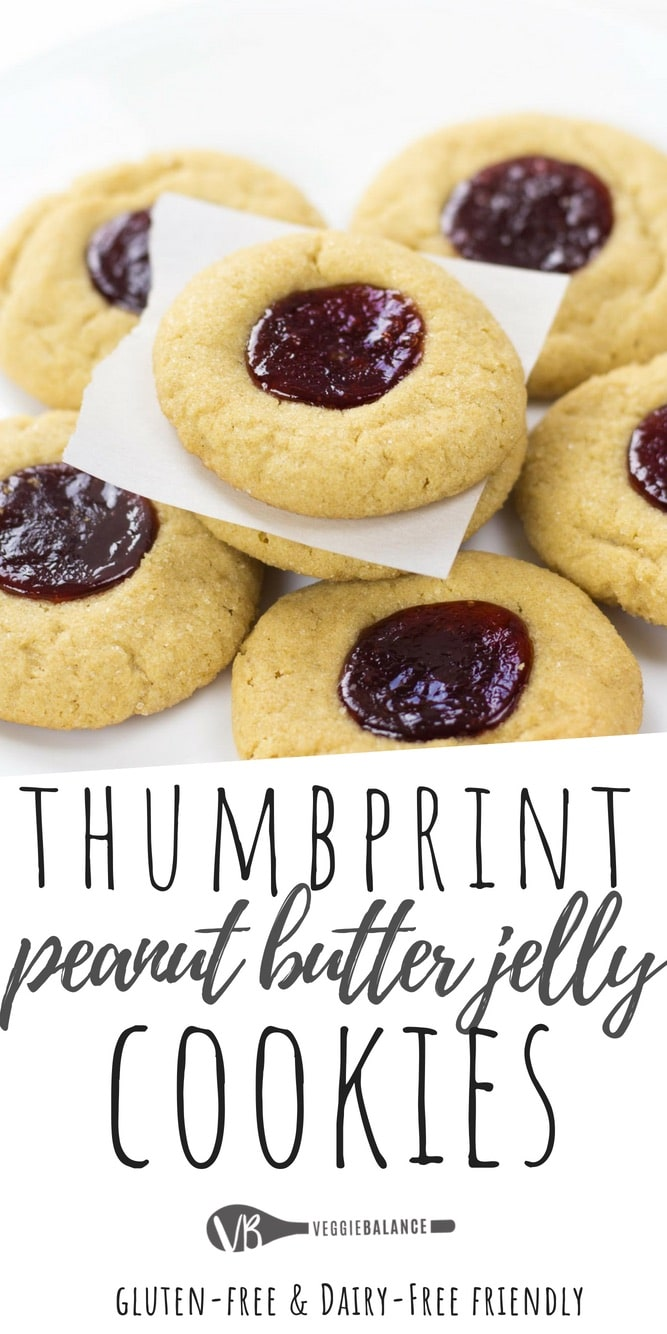 Peanut Butter Jelly Thumbprint Cookies (Gluten Free)