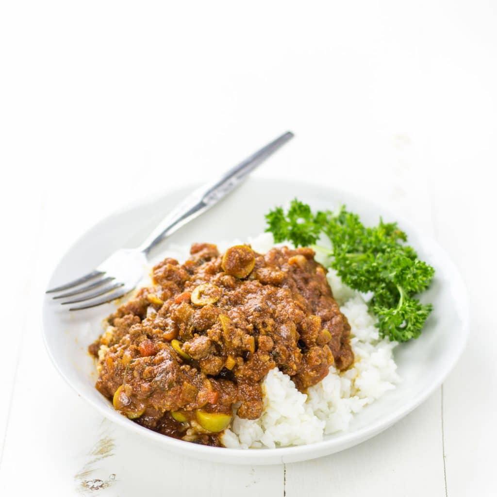 Picadillo Mexican Beef over Rice Recipe