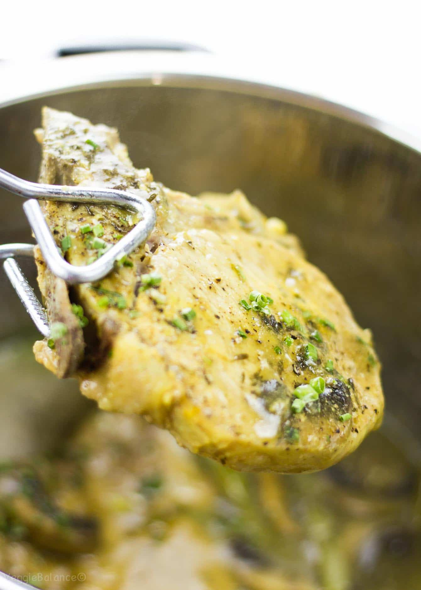 Pressure Cooker Pork Chops cooked in a honey mustard sauce.