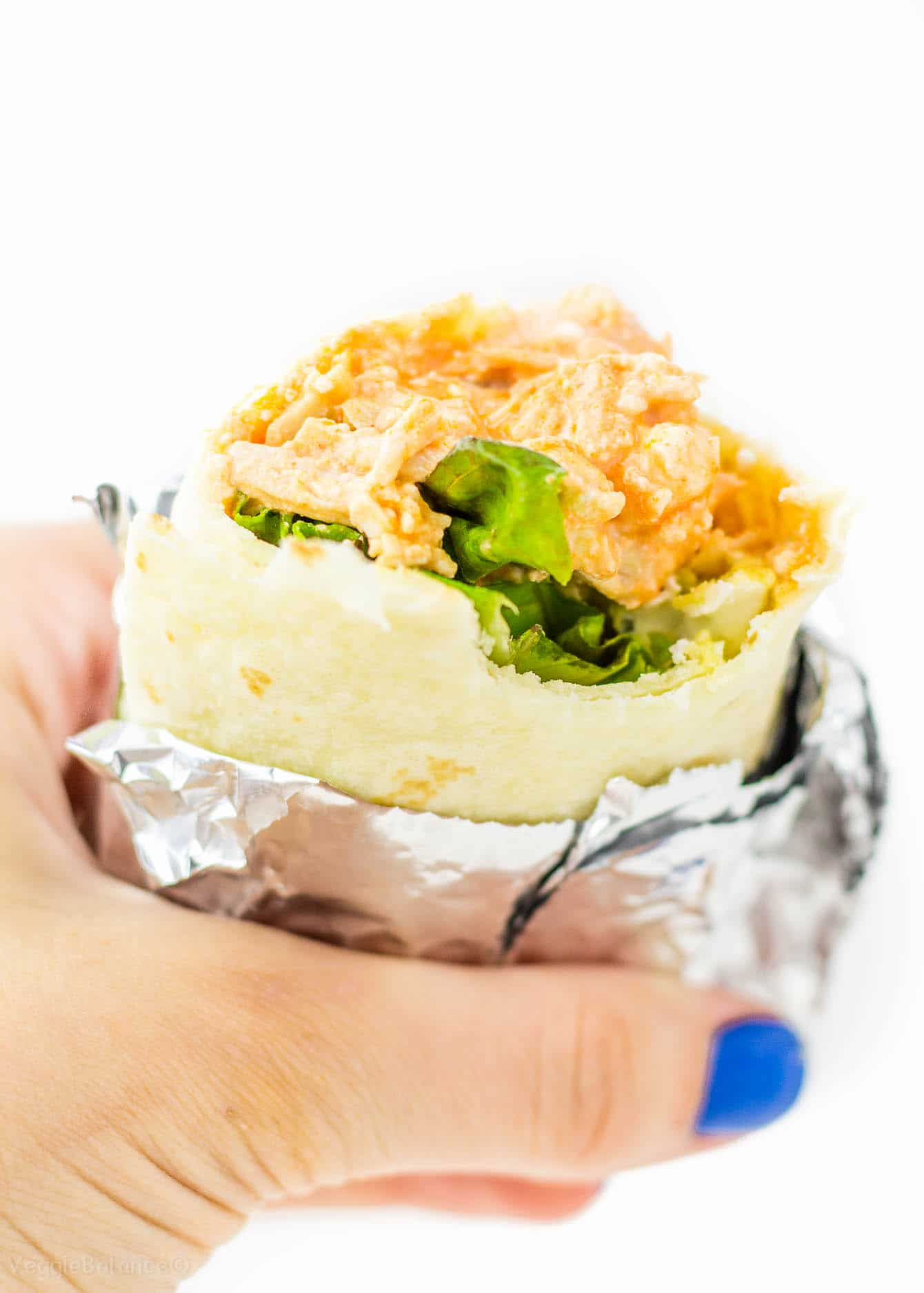 Buffalo Chicken Wraps made with extra hidden protein Gluten free - Veggiebalance.com