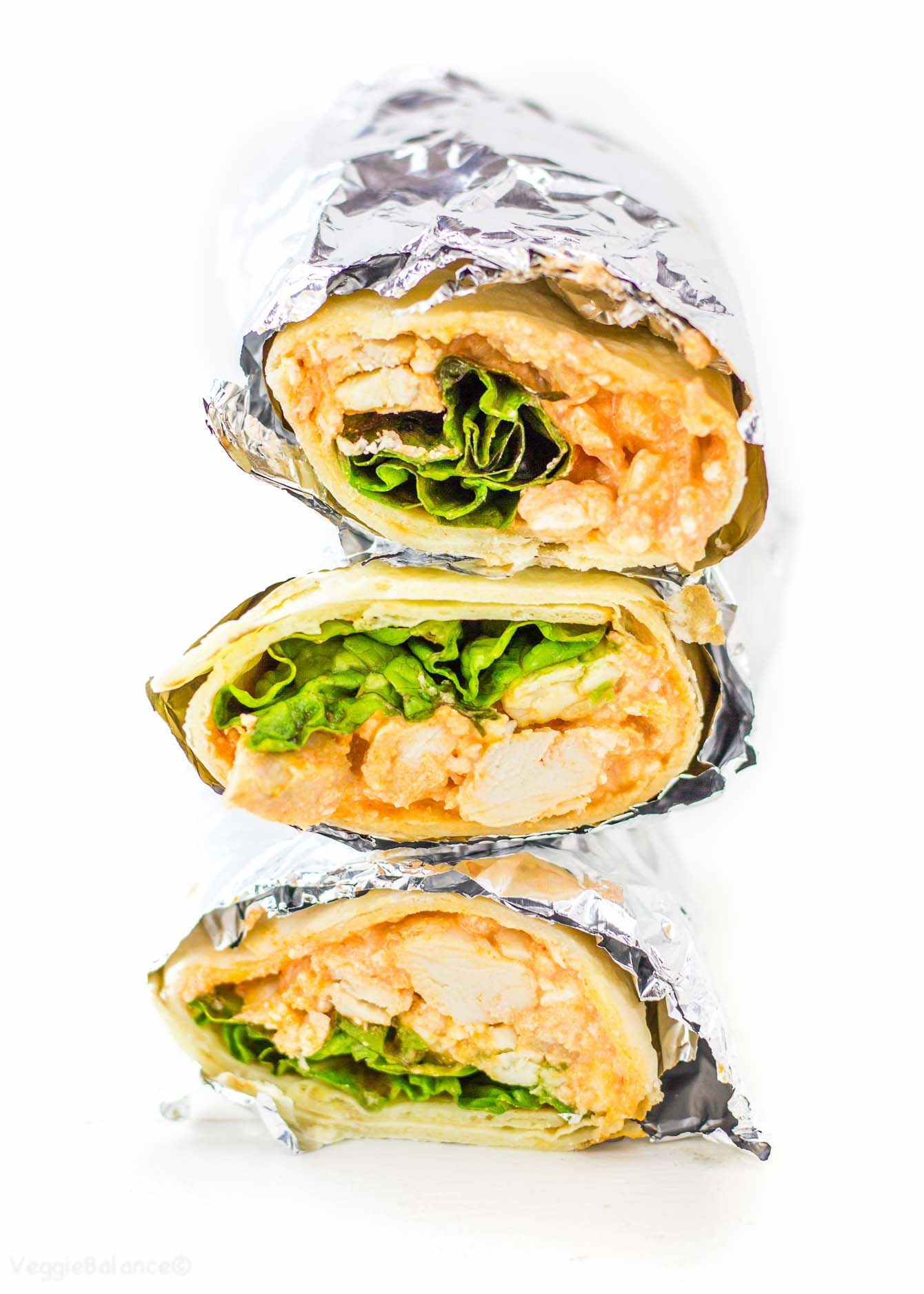 Buffalo Chicken Wraps made with extra hidden protein Gluten free - Veggiebalance.com