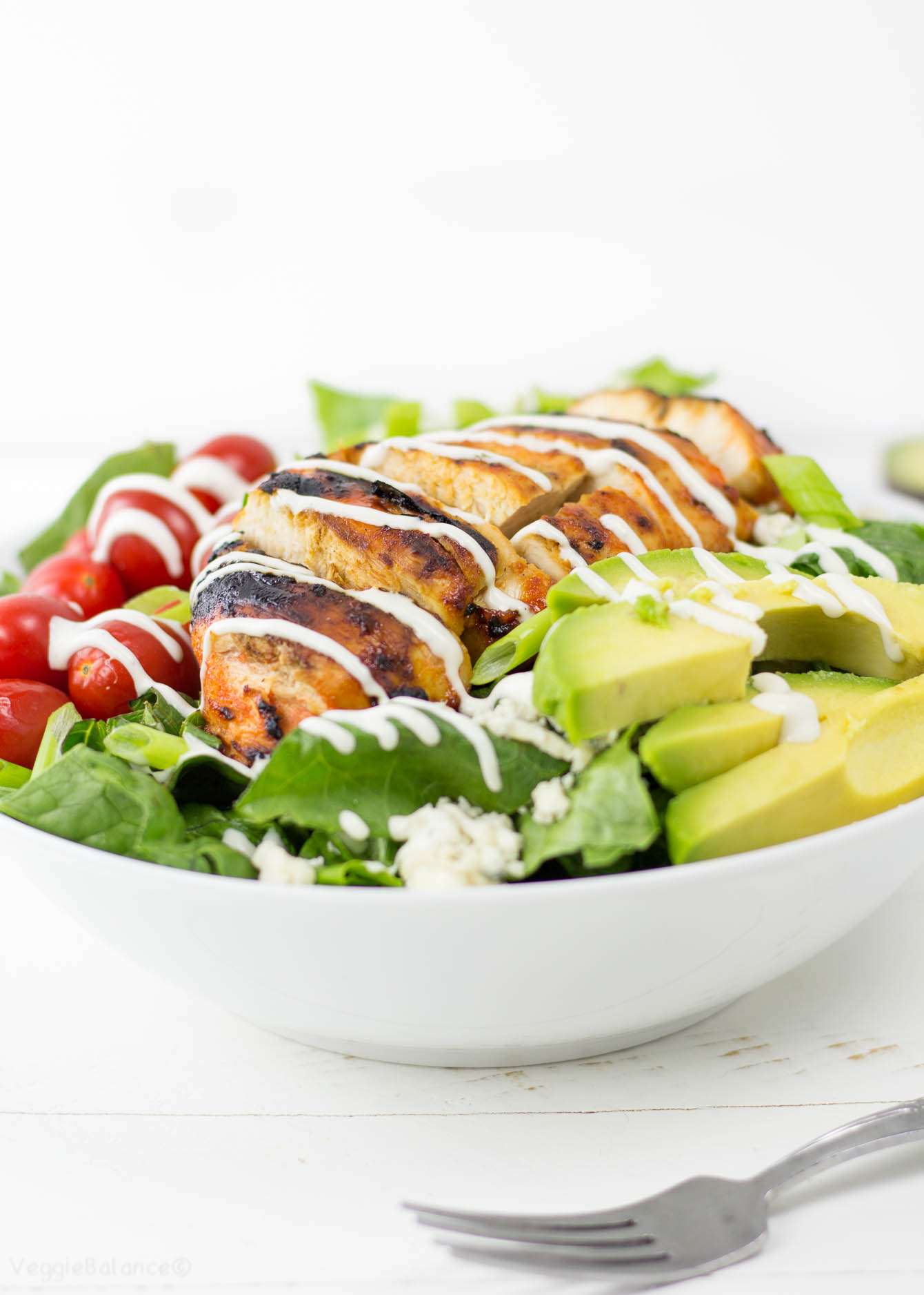 Grilled Buffalo Chicken Salad recipe - Veggiebalance.com
