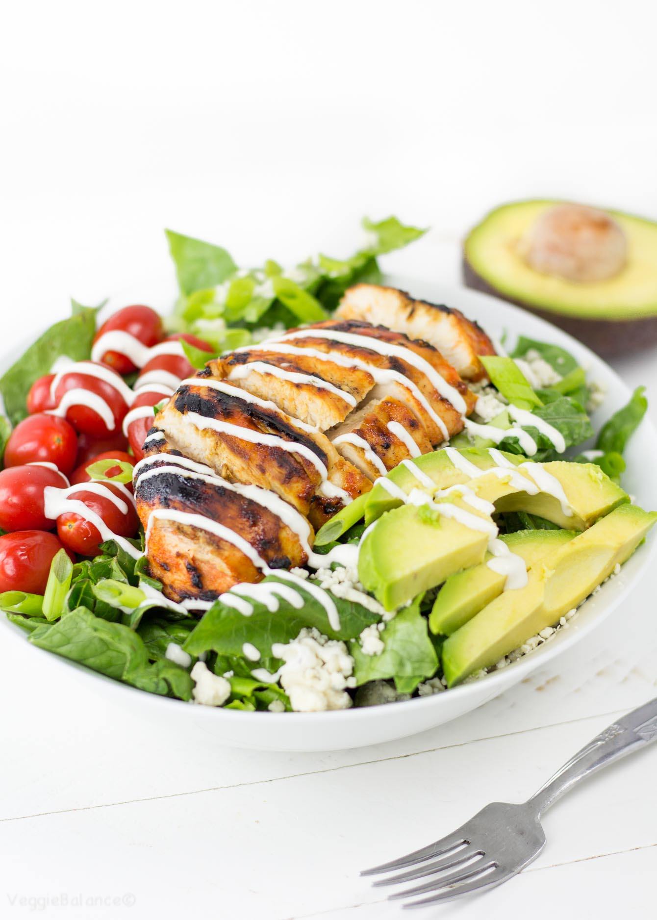 Grilled Buffalo Chicken Salad Recipe With Easy Ranch Dressing