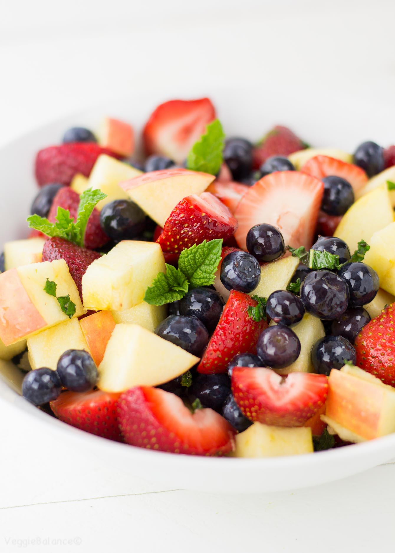 Lemon Mint Fruit Salad (aka The Red, White & Blue Fruit Salad) Gluten Free - Veggiebalance.com