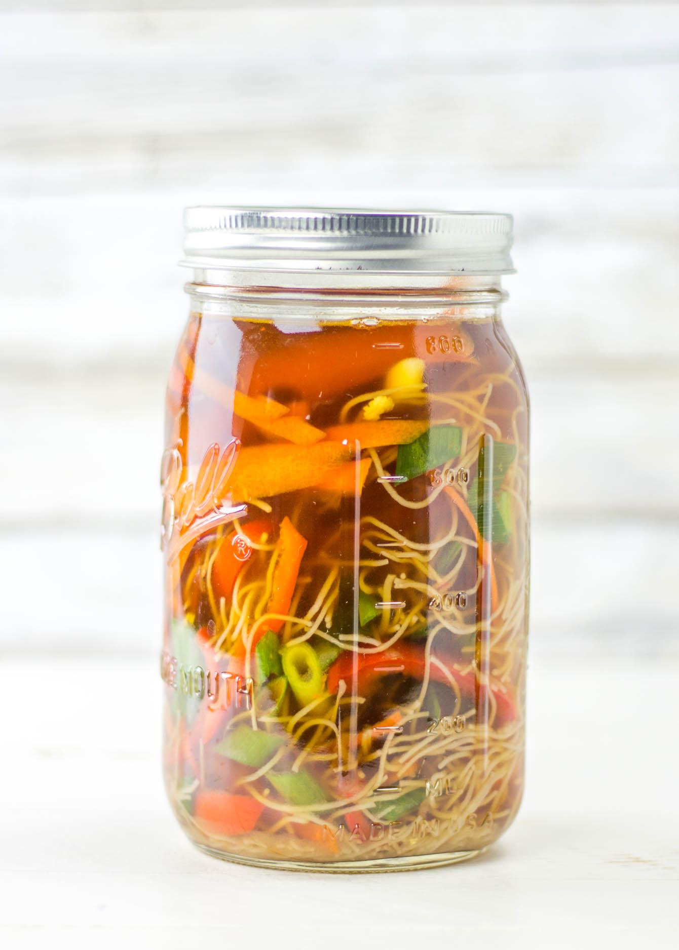 Pho Soup Made at Home in Mason Jars, Gluten Free, Dairy Free, Vegan, Vegetarian