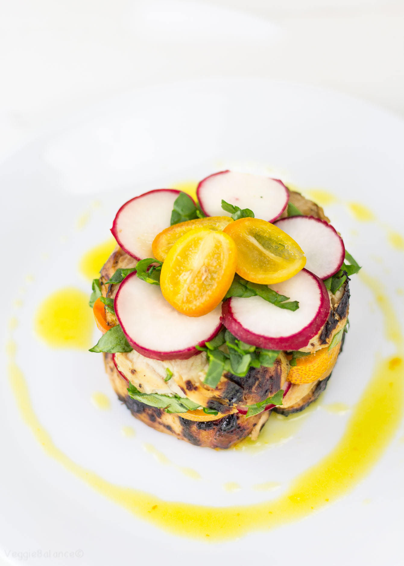 Easy Kumquat Dressing drizzled over a Chicken Stacked Salad (Gluten Free) - Veggiebalance.com