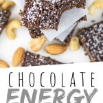 """PINTEREST IMAGE with words """"Chocolate Energy Bars"""" Chocolate Sea Salt Energy Bars with one missing a bite"""