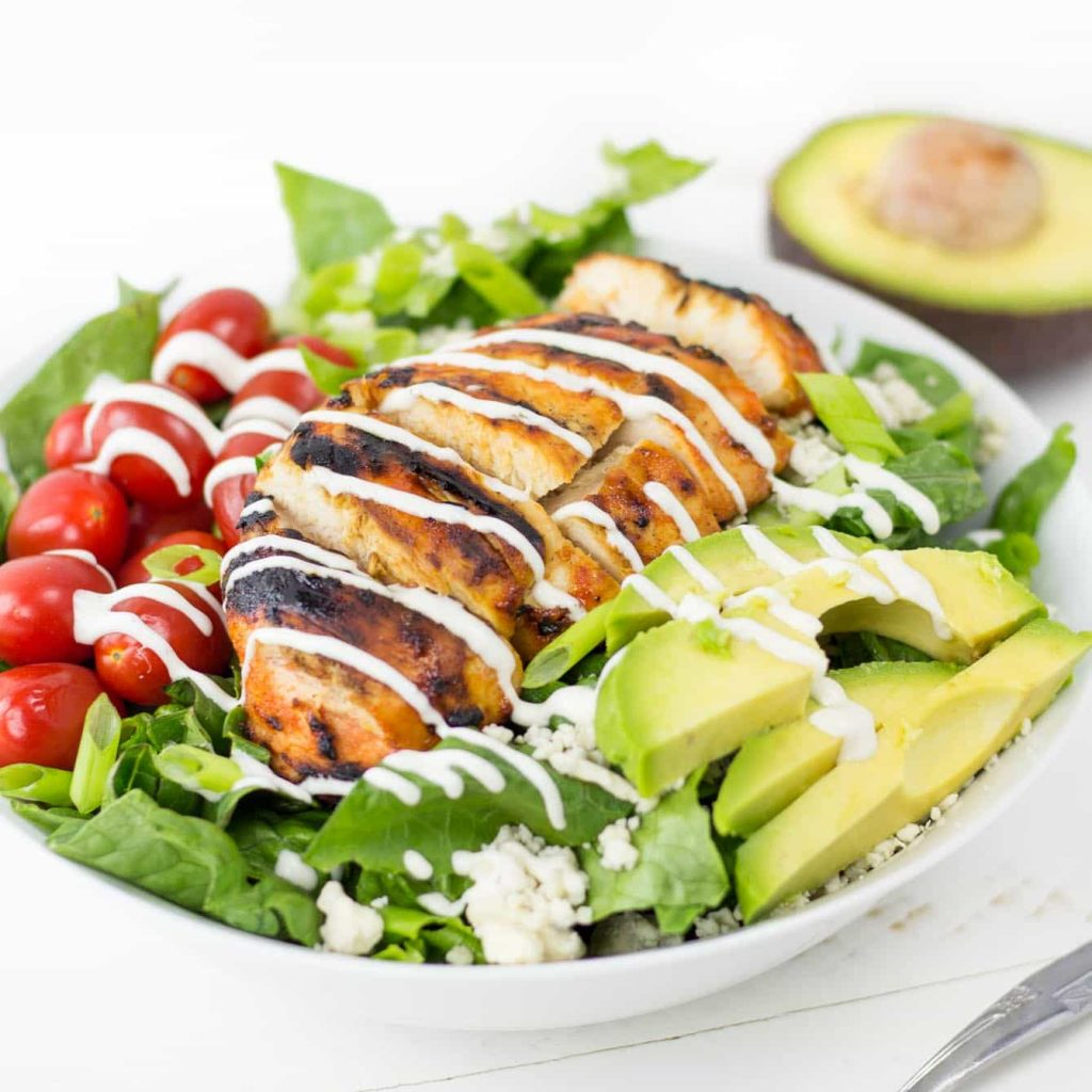 Grilled Buffalo Chicken Salad recipe with Easy Ranch Dressing & Avocado