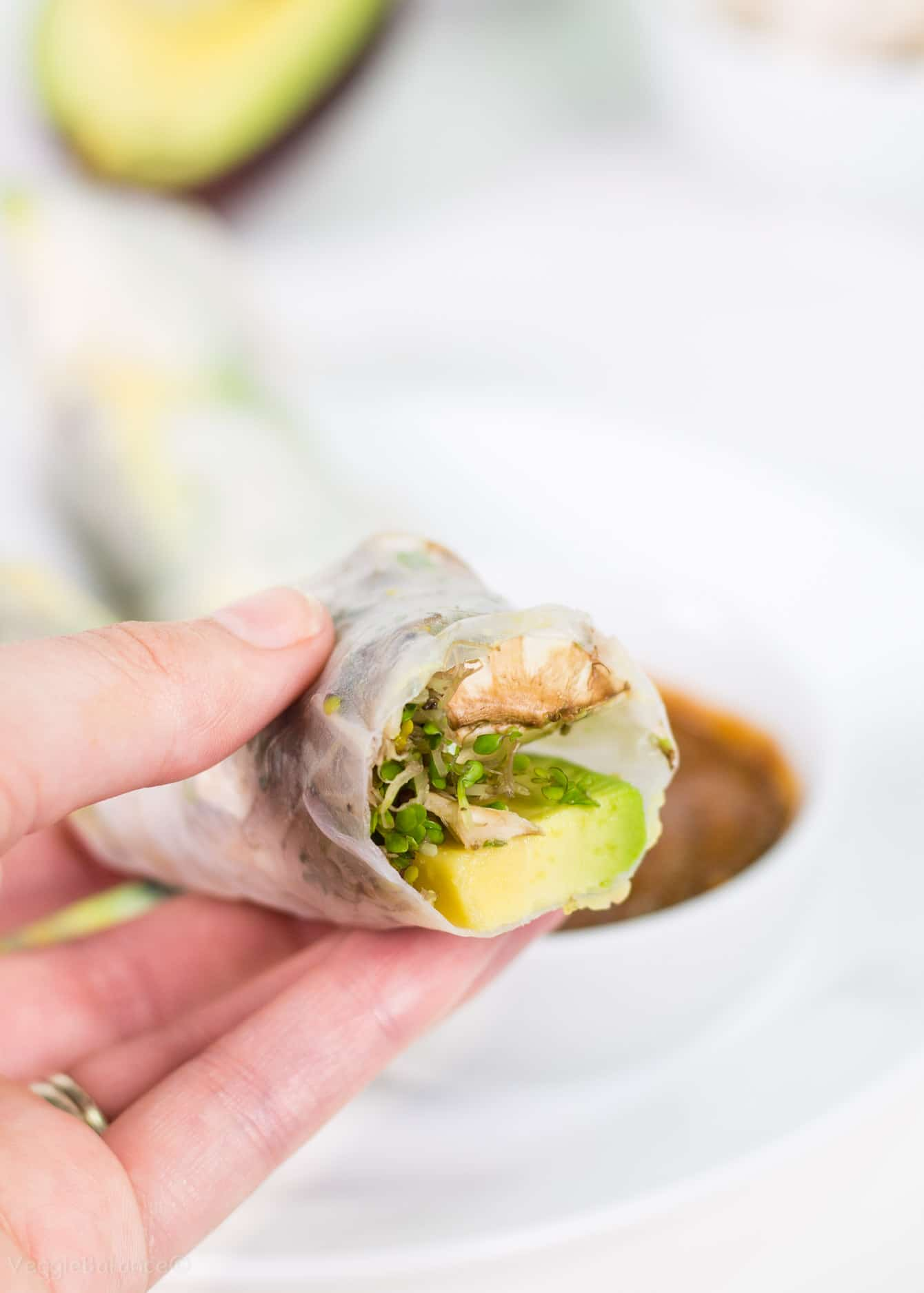 Fresh Spring Rolls with Avocado and Thai Peanut Dipping Sauce