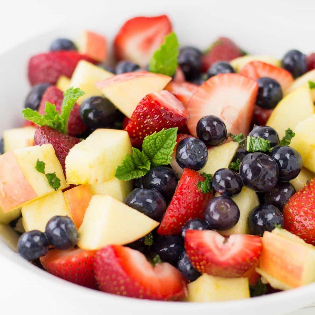 Lemon Mint Fruit Salad (Red, White & Blue Fruit Salad)