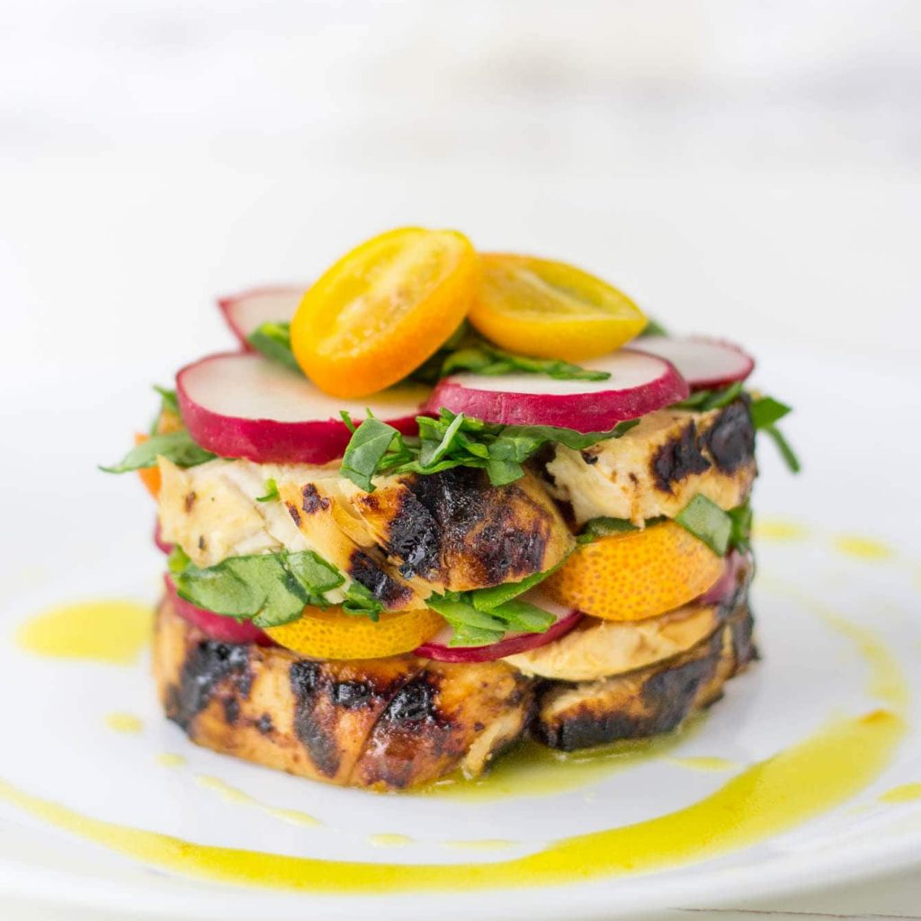 Chicken Stacked Salad with Kumquat Dressing