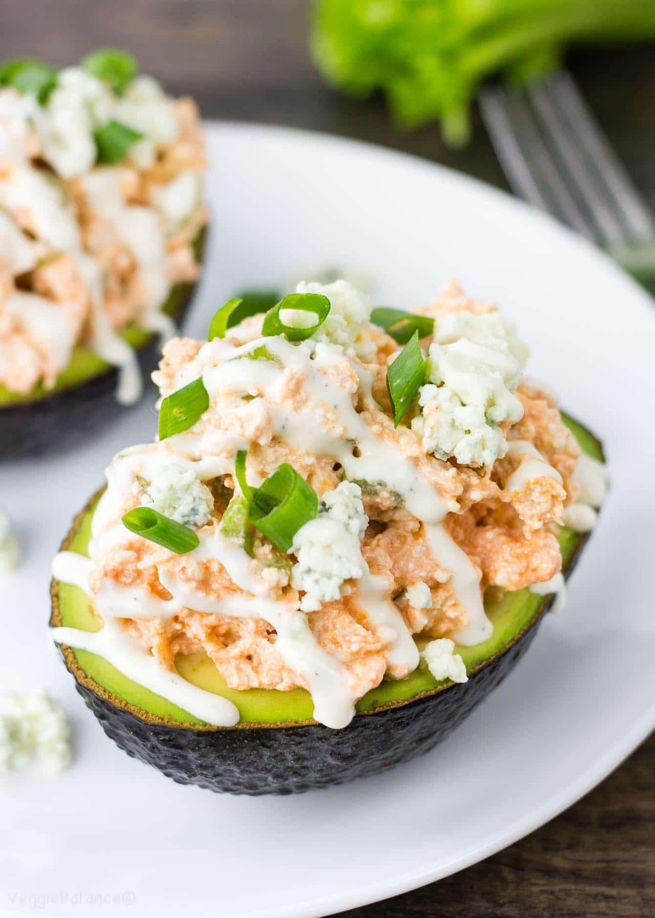 Buffalo Chicken Salad Stuffed Avocado recipe