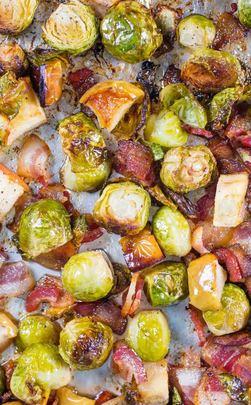 Roasted Brussel Sprouts with Bacon, Apples