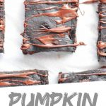 "PINTEREST IMAGE with words ""Pumpkin Brownies"" Pumpkin Brownies with chocolate drizzle"