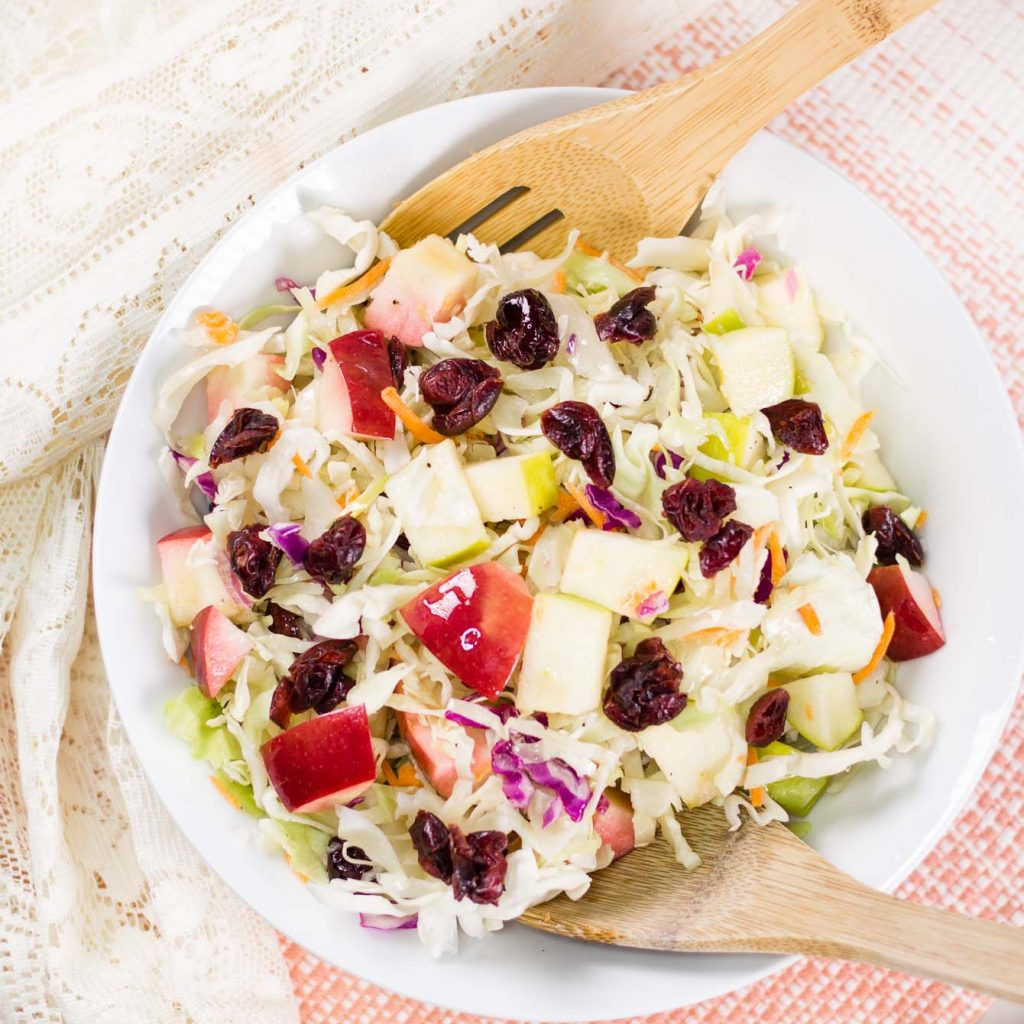 Apple Cranberry Almond Coleslaw Salad (No Mayo Coleslaw)