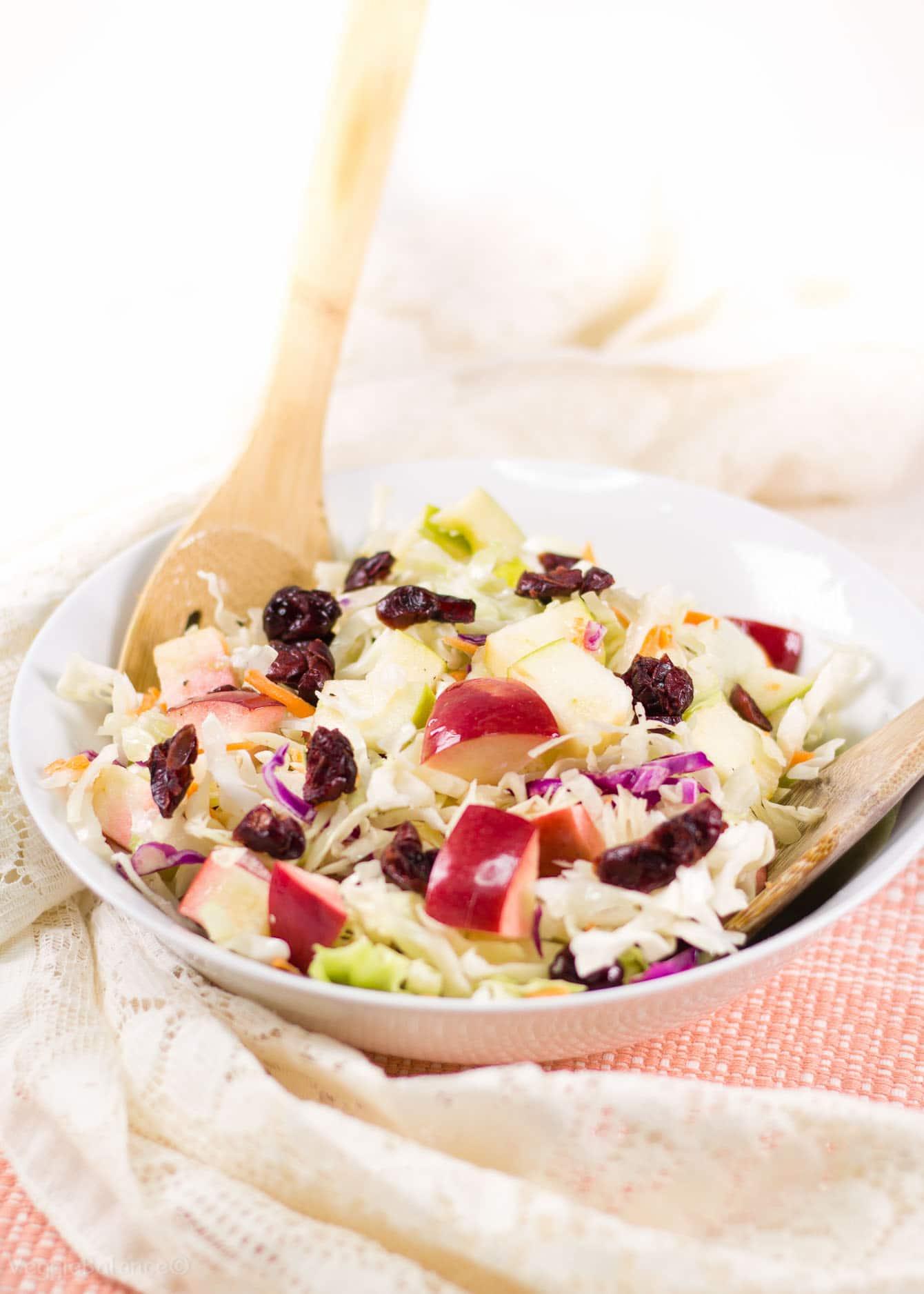 Apple Cranberry Almond Coleslaw Salad No Mayo Coleslaw