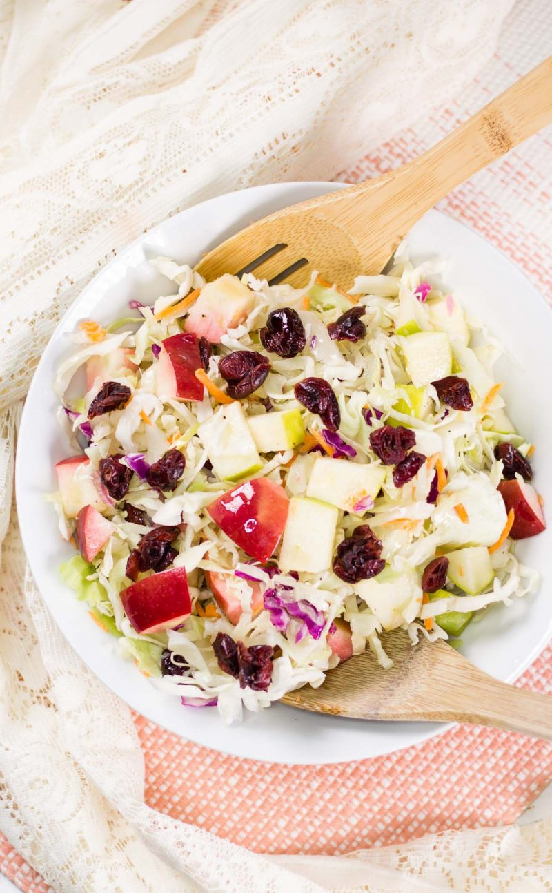 Apple Cranberry Almond Coleslaw Salad Recipe (No Mayo Coleslaw)