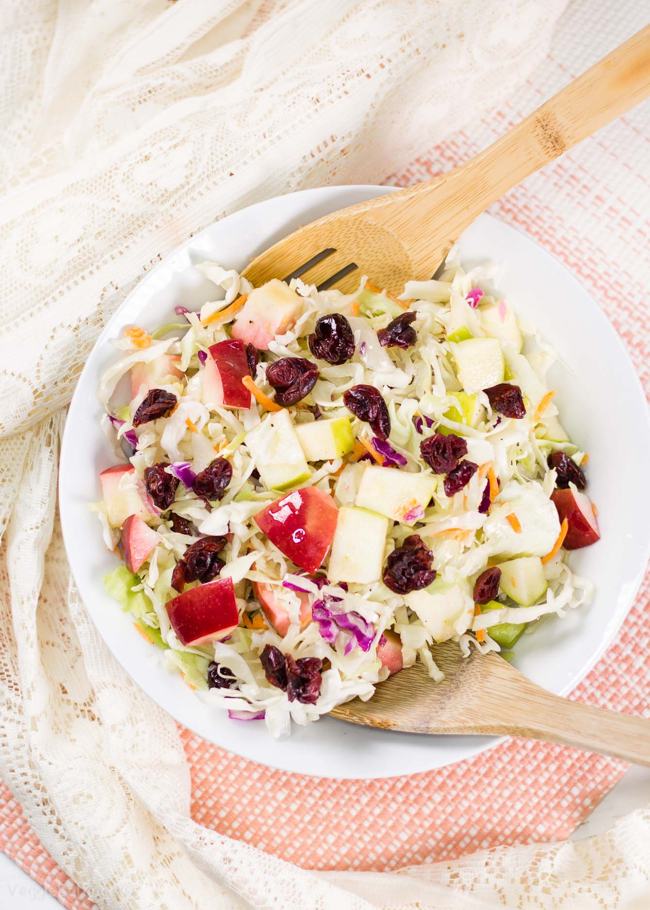 Apple Cranberry Almond Coleslaw Salad recipe