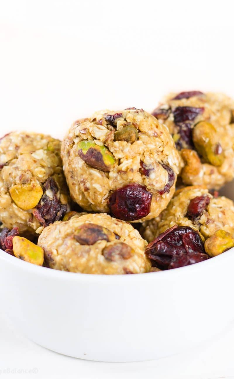 Quick Cranberry Pistachio Energy Bites
