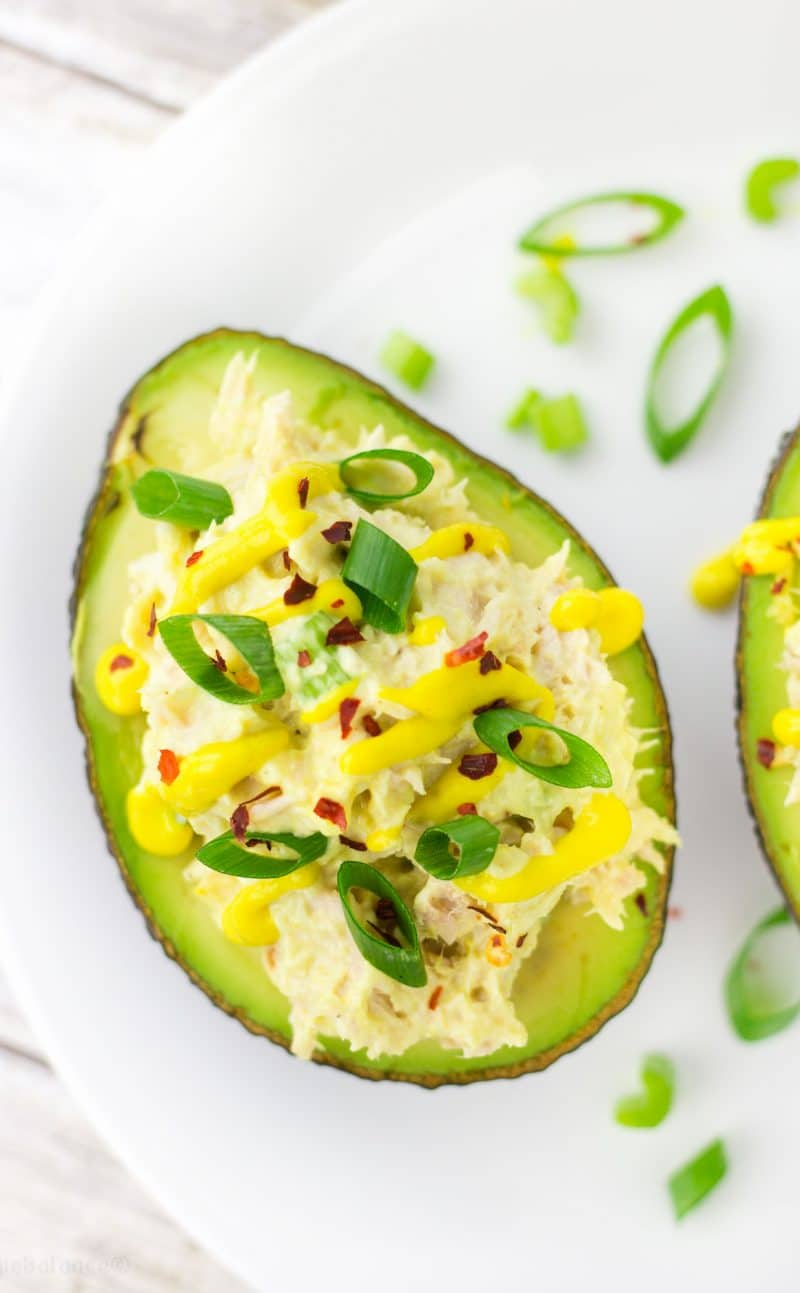 Tuna Salad Stuffed Avocado Bowls made Healthy