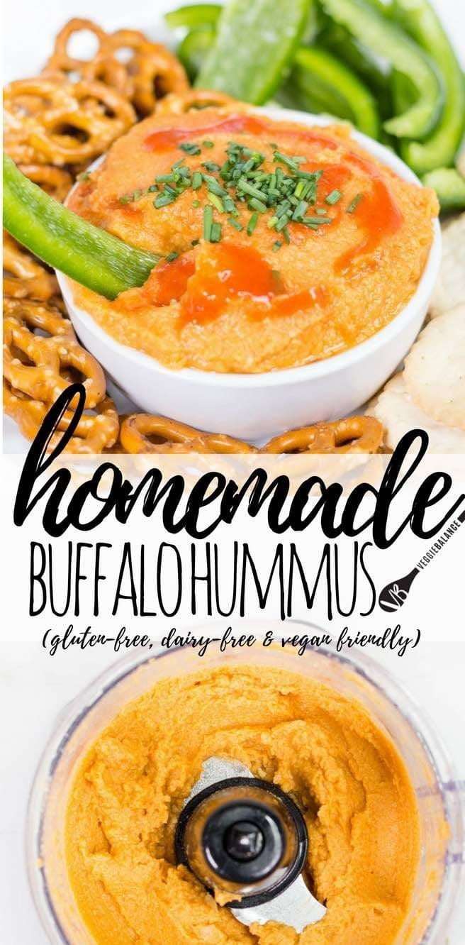 Buffalo Hummus recipe will have your taste buds singing hallelujah for healthy and hot sauce. Bring. On. The Buffalo. (Gluten-Free, Dairy-Free, Vegan, Vegetarian, Low-Sugar)