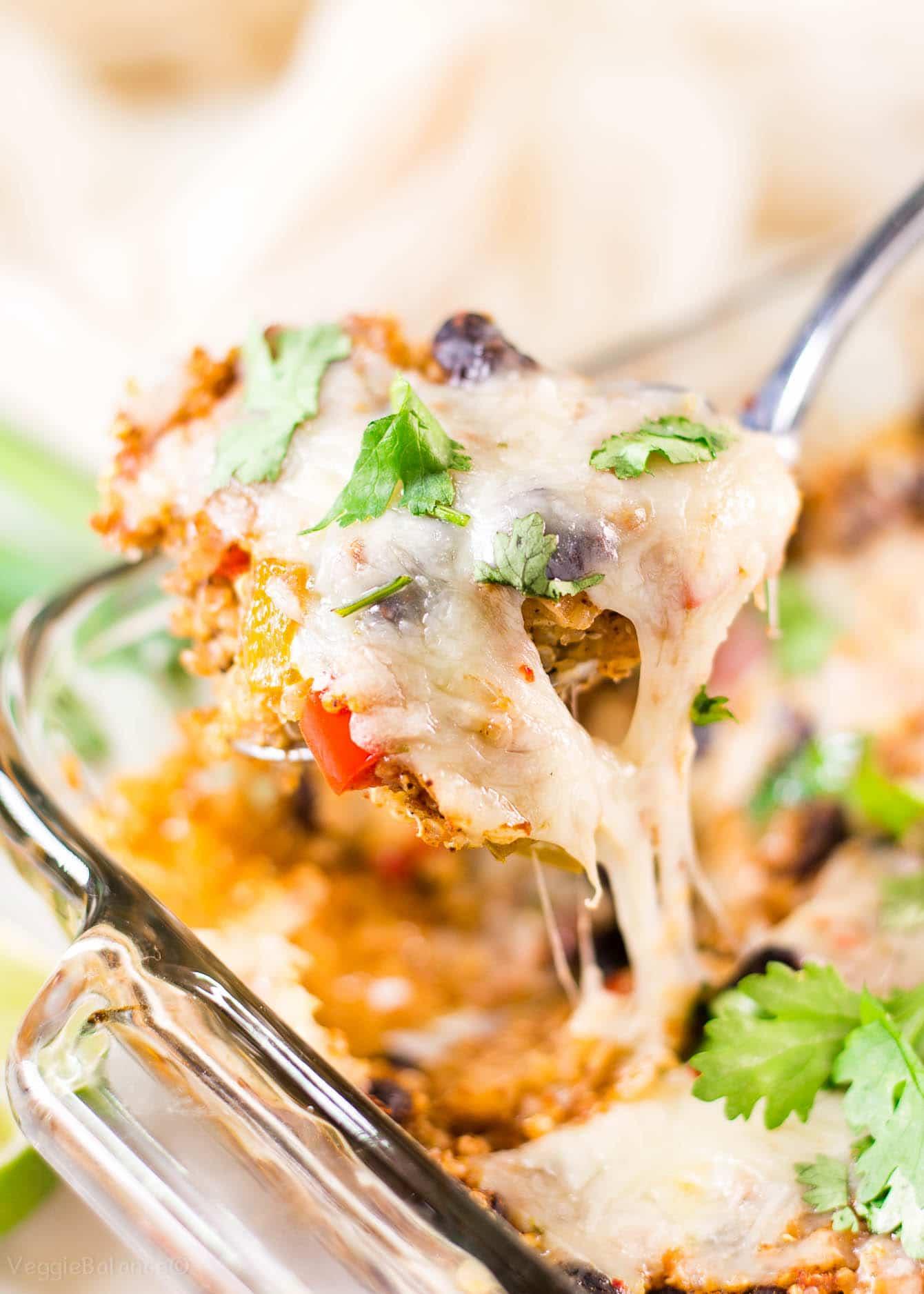 Vegetarian Quinoa Mexican Dinner recipe in casserole dish