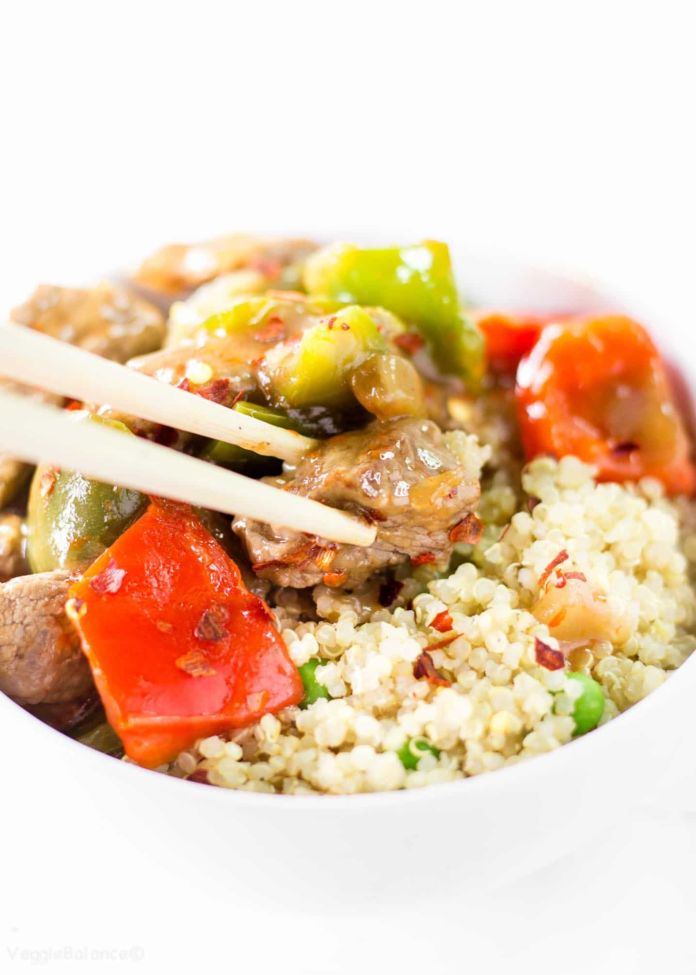 Chinese Pepper Steak on rice
