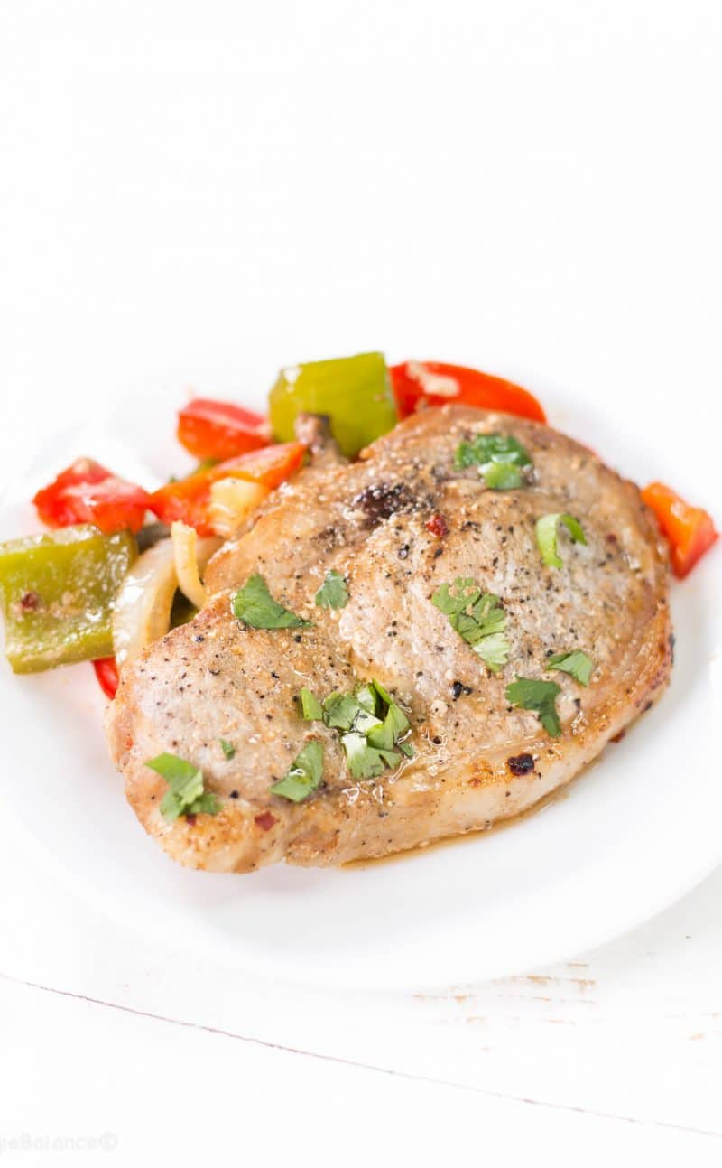 Oven Baked Pork Chops Smothered in Peppers