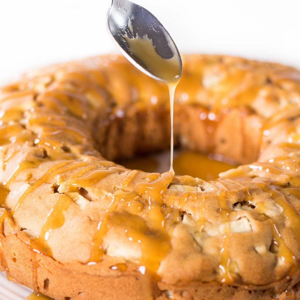 Gluten-Free Apple Coffee Cake with Homemade Caramel Sauce Drizzle