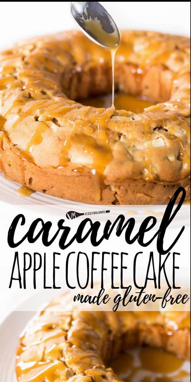 Gluten-Free Apple Coffee Cake recipe with an easy homemade caramel sauce drizzled all over for sweet perfection. Make for breakfast, brunch or coffee dates on a Sunday morning. Easy to whip together, delicious and looks like masterpiece. (Gluten-Free, Nut-Free, Dairy-Free and Low-Sugar friendly)