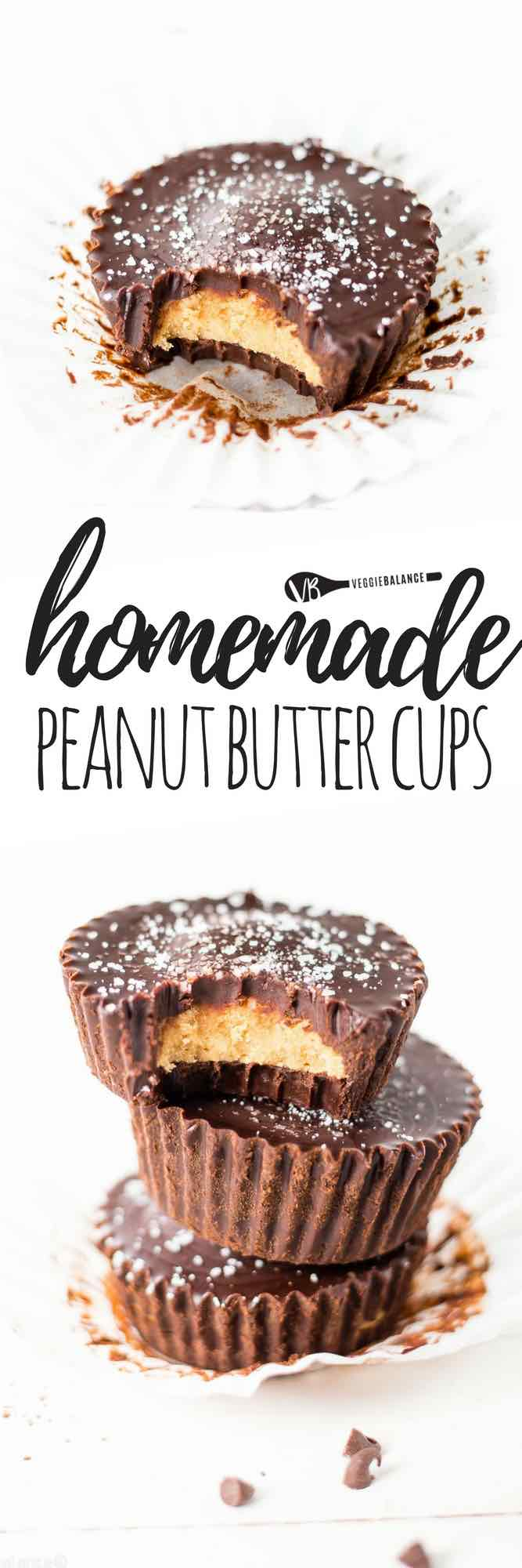 Homemade peanut butter cups recipe and how to make them in just 4 easy steps and teaching how to make natural from scratch chocolate. Healthy Peanut Butter Cups are the best! (Gluten-Free, Dairy-Free, Vegan, Vegetarian, Low-Sugar friendly)