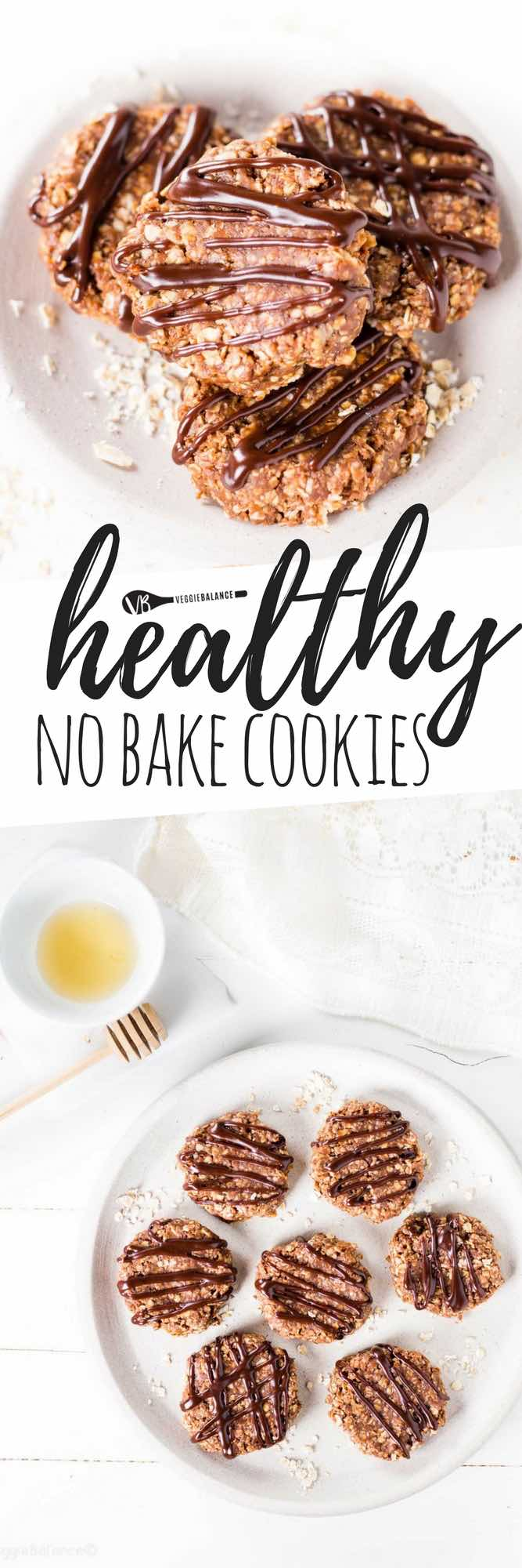 These Healthy No Bake Cookies are made with a few simple ingredients and are insanely easy to make. These Gluten-Free Cookies are packed with peanut butter and laced with chocolate flavor. Made in under 30 minutes. (Gluten-Free, Dairy-Free, Low-Sugar, Vegetarian)