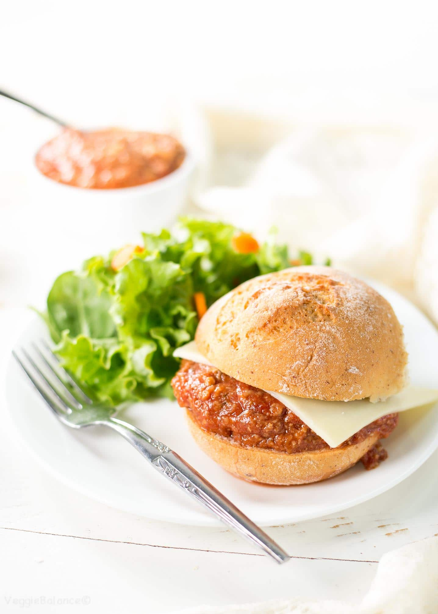 Vegetarian Sloppy Joes recipe on gluten-free bun
