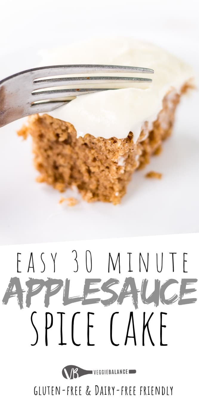 The Best Applesauce Spice Cake recipe made with applesauce and a few other easy ingredients. Frosted with a heavenly cream cheese frosting making this the best applesauce cake recipe everrrrrrrr.