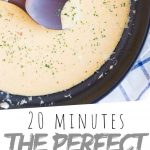"""PINTEREST IMAGE with words """"20 minutes the perfect cheese sauce"""" the perfect cheese sauce in a black skillet"""